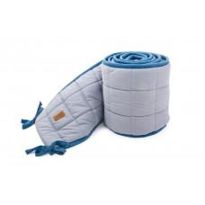 Poofi apmale bērnu gultiņai 28x420 cm (organiskās kokvilnas) / pelēka - zila krāsa